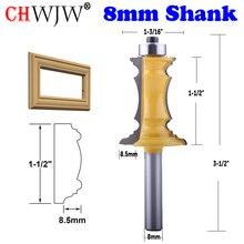 """CHWJW 1pc 8mm Shank 1 1/2 """"Miter rama Molding frez linii nóż drzwi nóż czop frez do obróbki drewna narzędzia"""