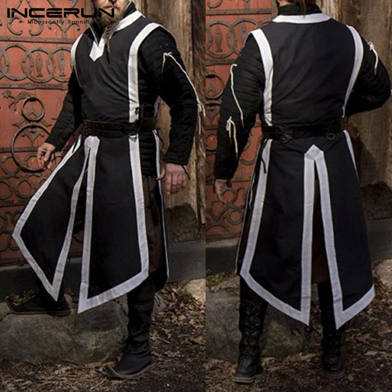 Medieval Period Reenactment Man Gown Tunic Templar Knight Crusader Surcoat Sleeveless Stage Cosplay Costumes Robe Plus Size 5XL