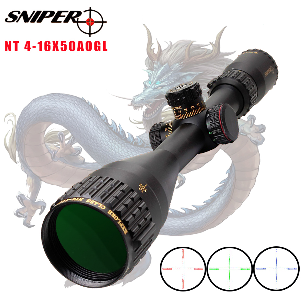 SNIPER NT 4-16X50 AOGL Riflescope Tactical Rifle Scope Glass Etched Reticle Hunting Optics Sight With Weaver Or Dovetail Rings