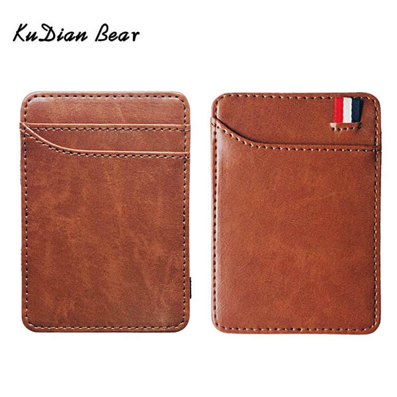 KUDIAN BEAR Slim Leather Men Wallet Magic Brand Designer Men Wallet Card Holder Korean Bilfold Clamps For Money BID259 PM49
