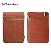 KUDIAN BEAR Slim Leather Men Wallet Magic Brand Designer Card Holder Korean Bilfold Clamps for Money BID259 PM49