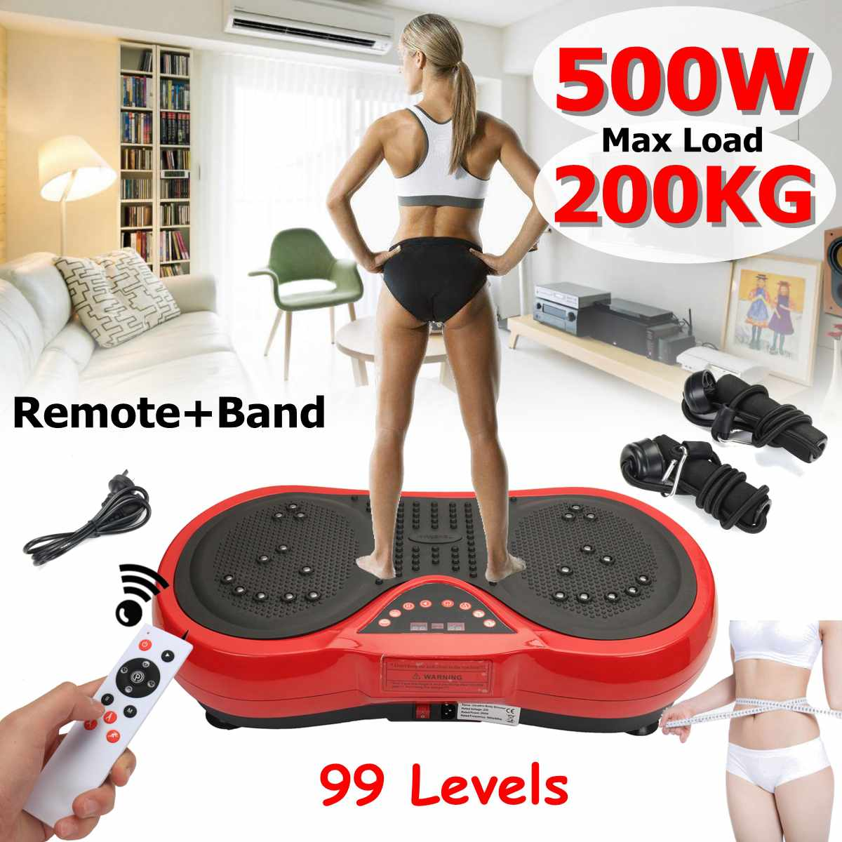 Exercise Fitness Slim Vibration Machine Trainer Plate Platform Body Shaper with Resistance Bands remote b and
