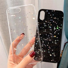 Lovebay Bling Star Glitter Soft TPU Phone Cases For iphone XS Max XR X 8 7 6 6S Plus 5 5S SE Shimmering Powder Transparent Cover