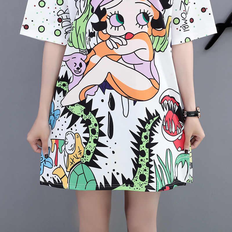 QING מו 2020 קריקטורה הדפסת שמלת נשים ארוך T חולצת קיץ חצי שרוול שמלת נשים לבן טי חולצה חולצות נשים מקרית שמלת QF676