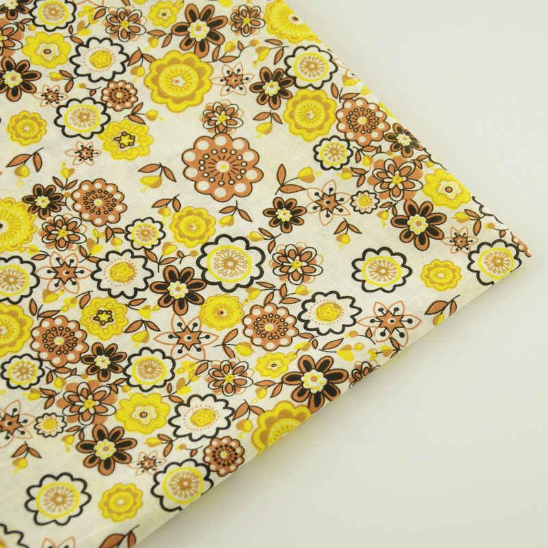 Brązowy i żółte kwiaty Patchwork tkaniny tekstylne Telas 100% CottonSewing drukowane dla początkujących praktyka odzież dla lalek rzemiosło