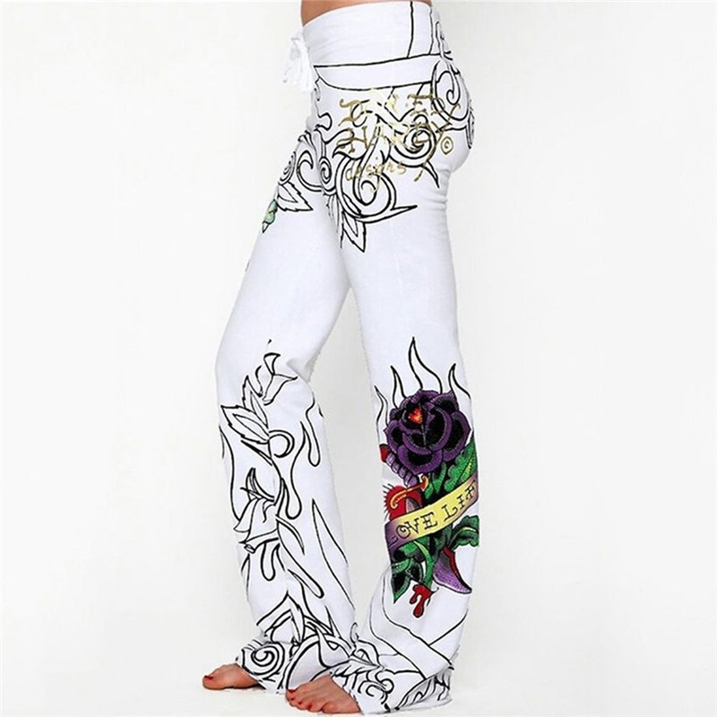Boho Floral Wide Leg Loose Pants Women Fashion High Waist Baggy Rose Printed Loose Slim Flat Pants Hippie Long Trousers