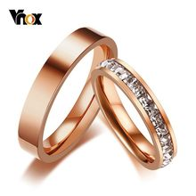 Vnox 3MM Bight 585 Rose Gold Tone Engagement Rings for Women Men Stainless Steel with Full CZ Stones Shinny Wedding Rings(China)