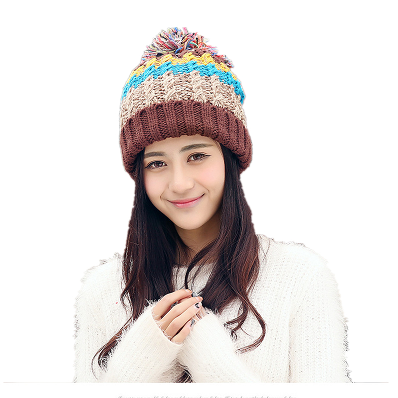 23e2a6845 Colorful Striped Women Hats Winter Fleece Warm Knitted Caps Pom Po...