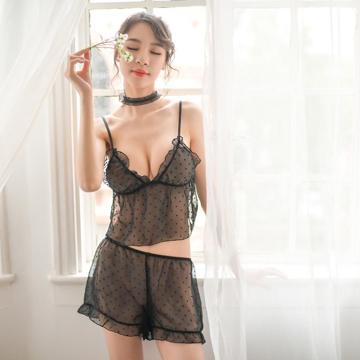 Lisacmvpnel  Lace  Sexy Women Sleepwear  V-Neck Spaghetti Strap Sexy Pijama