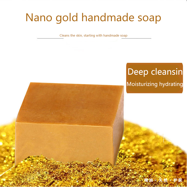 Купить с кэшбэком Gold foil handmade soap 100g Whitening Moisturizing Facial Skin Care Treatment Deep Cleansing Oil Control Wrinkle removal Soap