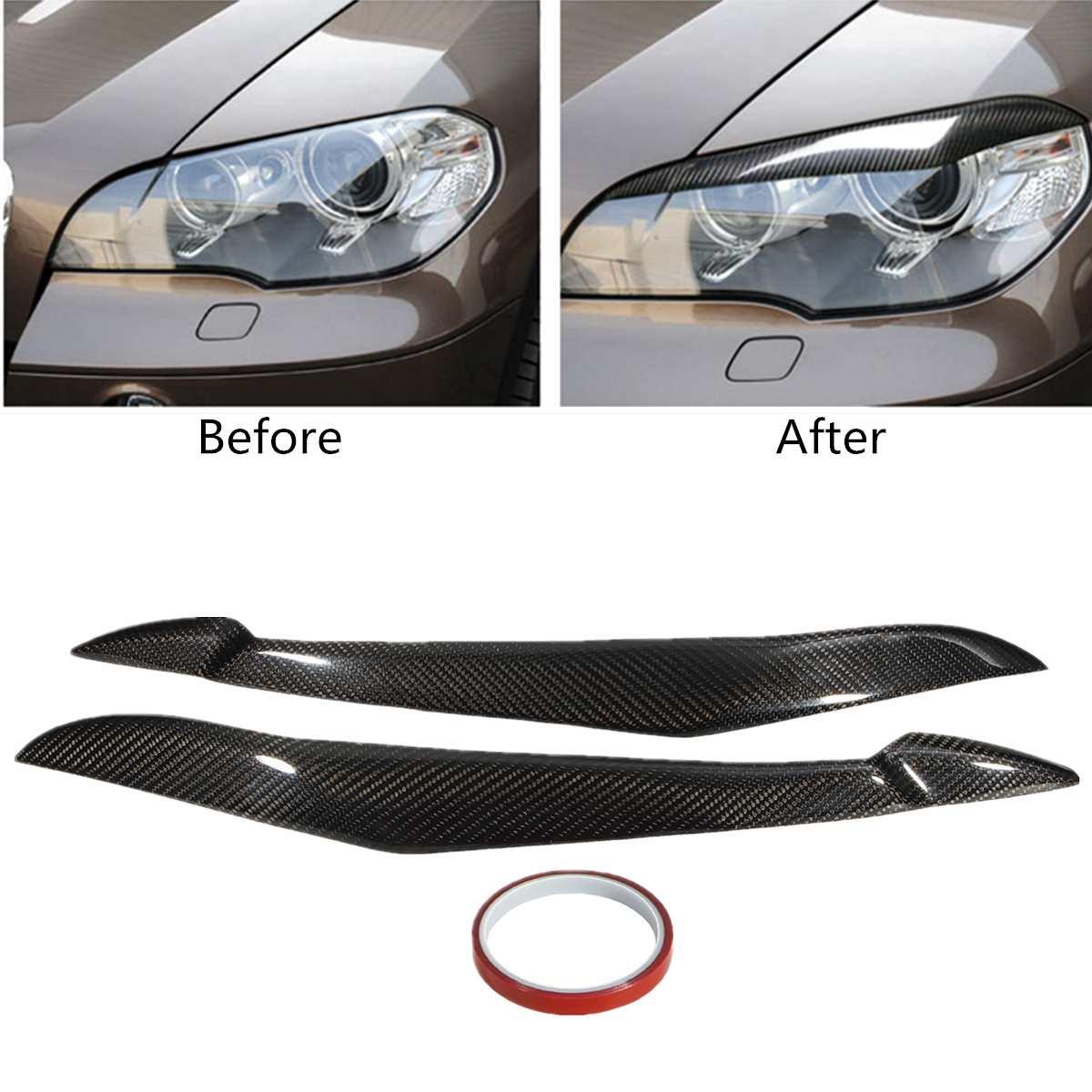 1 paire pour BMW E70 X5 2007-2013 Carbone fibre Phare Paupière Couvre Noir Brillant UV-Revêtement améliore L'aspect Bâton-sur