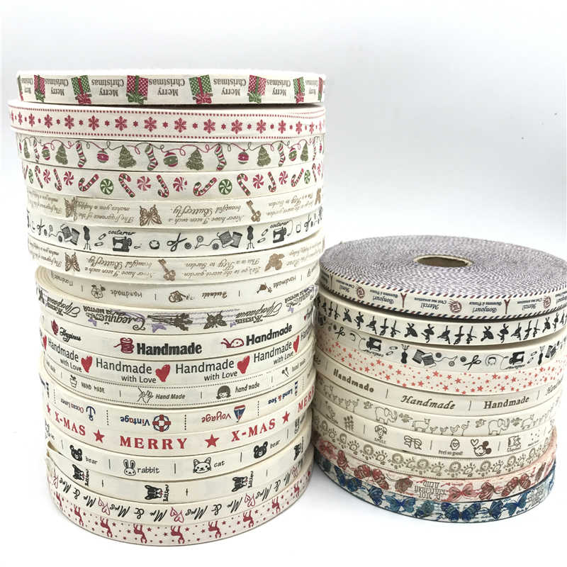 5 Yards/lot 15mm Cotton Ribbon Handmade Design Printed Cotton Ribbons For Wedding Christmas Decoration DIY Sewing Fabric