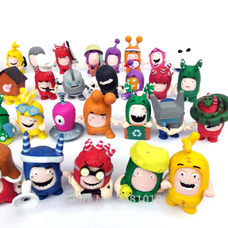 c246dde1a49 ... Cartoon Oddbods Mini Anime Figures Pogo Newt Buuble Zee Jeff Fuse Slick  Anime Figurines Collection Dolls ...