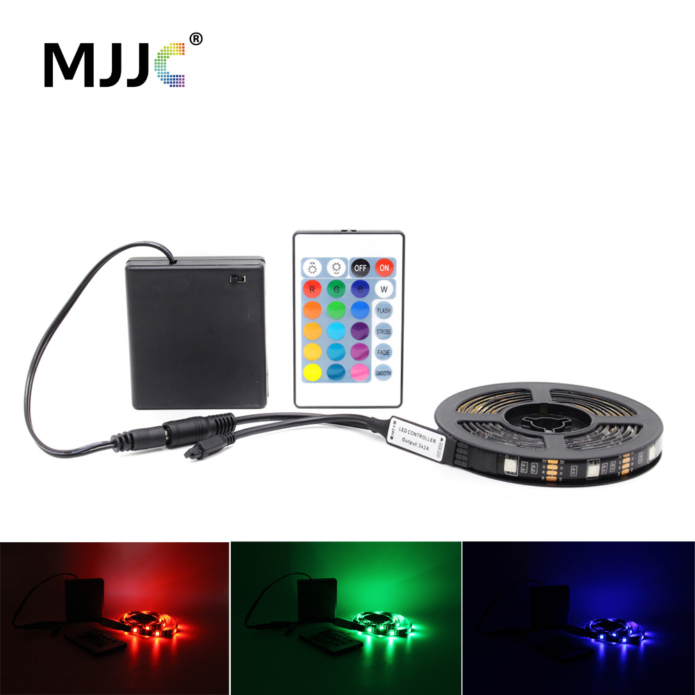 LED Strip Battery Operated Tira LED RGB Stripe 5V Adjustable Waterproof  Battery Powered Remote Control Camping Decorative Lamp