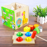 Baby Wooden Cube Knocking Ball Developmental Toy Geometry Block Jigsaw Twist & Roll Car and Animal Blocks Color & Shapes