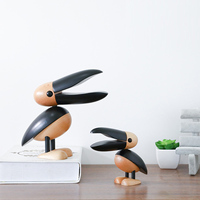 Wooden Toucan Home Decoration Handicraft Nordic Wood Toucan desk Arts Crafts Bird Animal Statues wood carving garden Living Room