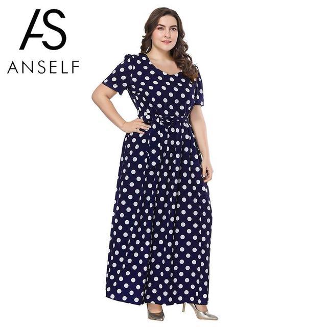 0386543970 3XL 4XL 5XL 6XL 7XL maxi plus size sukienka kobiety rocznika Polka sukienka  w kropki O-Neck krótki rękaw popędzający Slim Swing długie suknie niebieski
