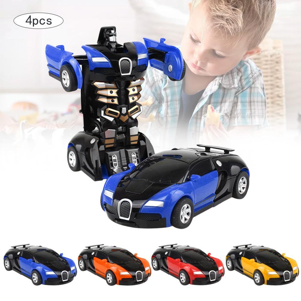 4pcs/set 2 In 1 Car Driving Sports Cars Drive Transformation Robots Inertia Car Models Robot Models Fightint Toys Gifts