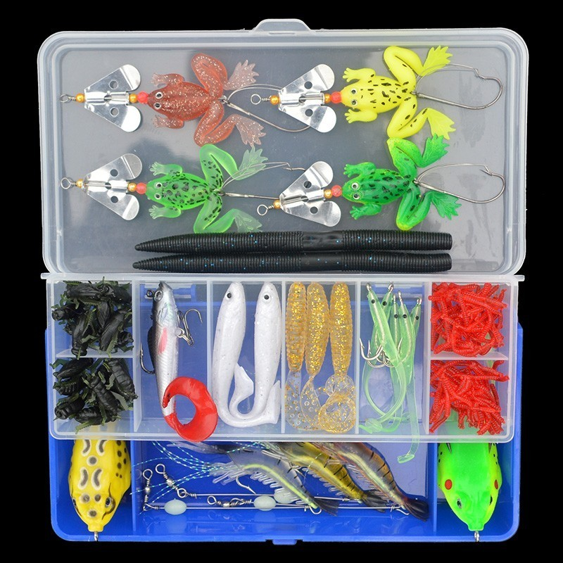 Soft Fishing Lures 142pcs set Tail Lead Head Shad Earthworm Frog Soft Bait with Hooks Luminous Shrimp Lures Kit with Box in Fishing Lures from Sports Entertainment