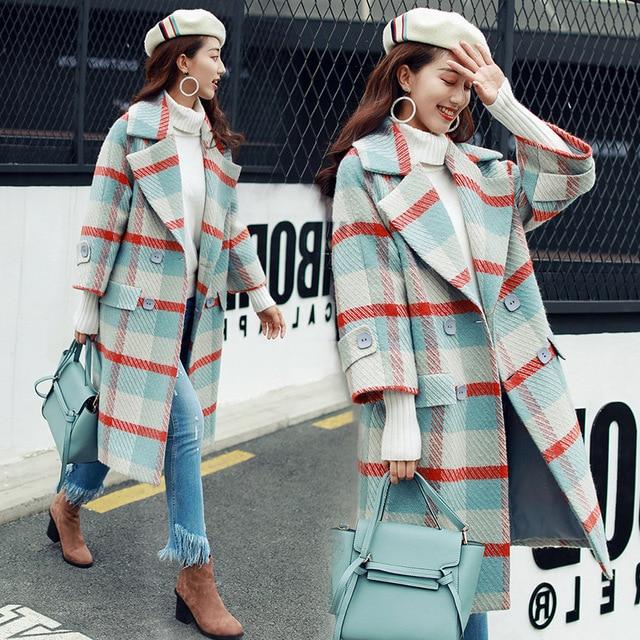 Women Plaid Woolen Coat Female Long Overcoat