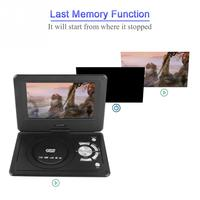 9.8 inch Portable DVD Player Swivel Screen Rechargeable TV Car Charger Gamepad 100 240V DVD Players 2019 Hot sale