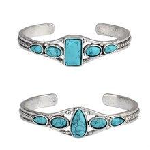 Boho cigano vintage esculpido oco geométrico aberto pulseira turquesa gem pedra grânulo manguito pulseira feminina moda jóias