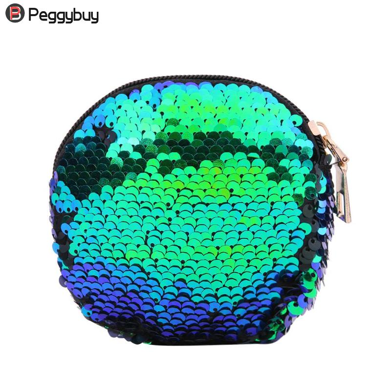 Change Purse Wallet Coin-Bag Round-Clutch Sequin Zipper Girls Bling Double-Color
