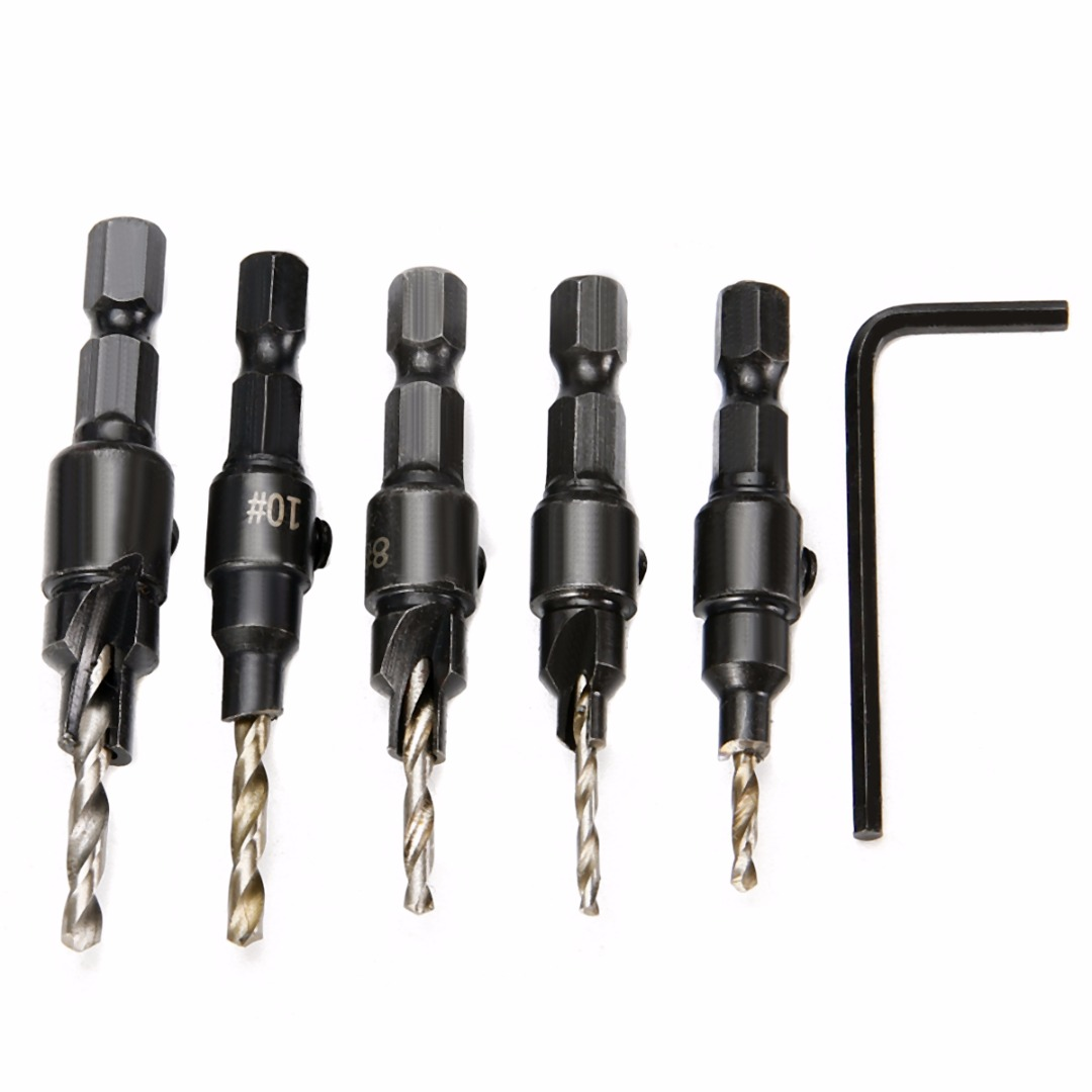 5pcs Durable Countersink Drill Bits Houtbewerking Boor With Hex Shank For Wood Drilling Tools  #5 #6 #8 #10 #12