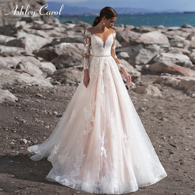 Ashley Carol Vintage Wedding Dress Sexy Sweetheart Long Sleeve Beaded Sashes Princess Bride Dresses Customized Wedding