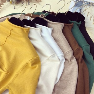 Image 2 - Half sleeve tops women knitted sweater half turtleneck short sleeve pullover 9colors 2020 spring and summer new arrival