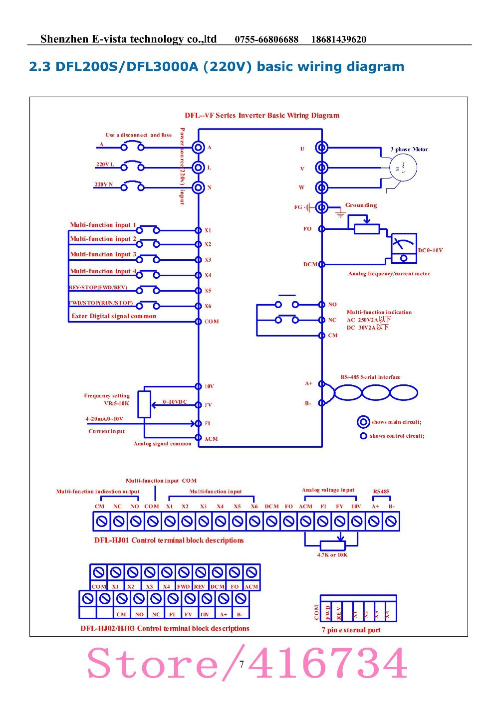 Vfd Inverter Frequency Converter Dfl3000a 220v 3 Phase Motor Wiring Diagram 01 02 03 04 05 06