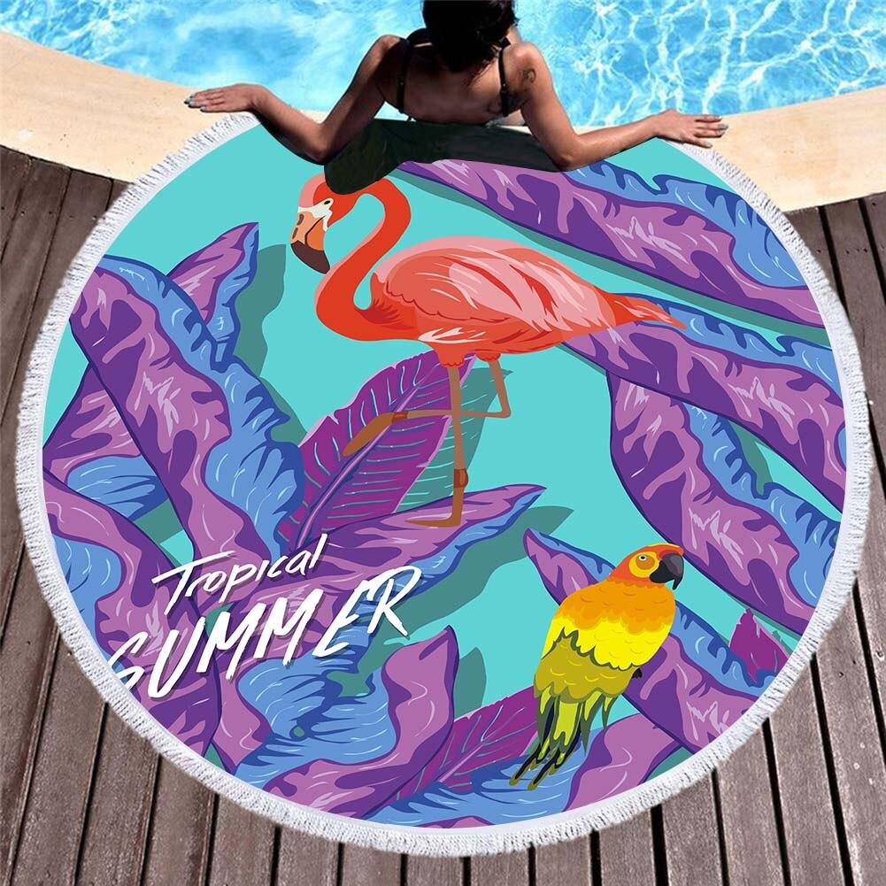 3d Gedrukt Flamingo Hand Getrokken Microfiber Ronde Strandlaken Voor Volwassenen Zomer Toalla Kwastje Yoga Mat T399