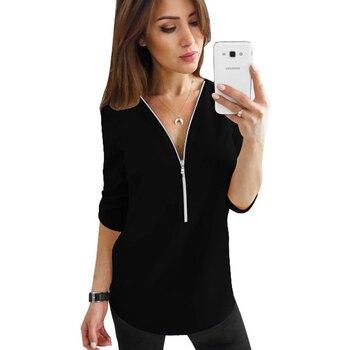 2019 Summer V Neck Zipper Roll Up Long Sleeves Loose Shirt Women Spring Summer Chiffon Blouse Top Blusa Feminina Plus Size 5XL 5
