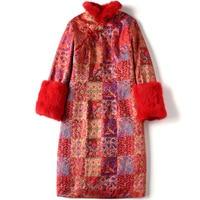 SHENG COCO Cheongsam Blouse New Year Clothes Chinese Red Shanghai Tang Chinois Coat Long Sleeve Cheongsam Blouse Rabbit's Hair