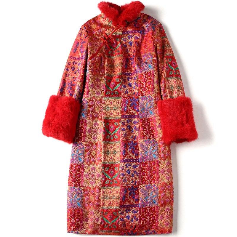 SHENG COCO Cheongsam Blouse nouvel an vêtements Chinois rouge Shanghai Tang Chinois manteau à manches longues Cheongsam Blouse cheveux de lapin