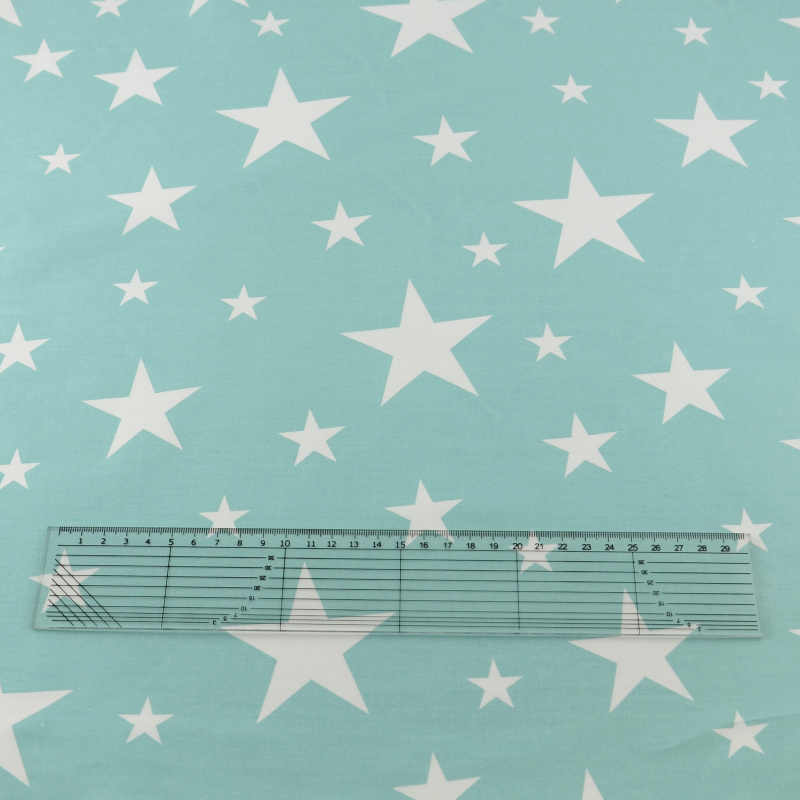 Baby Clothes Shiny White Stars Designs Light Blue Cotton Fabric Twill Quilting Patchwork Bedding Art Work Curtain Scrapbooking