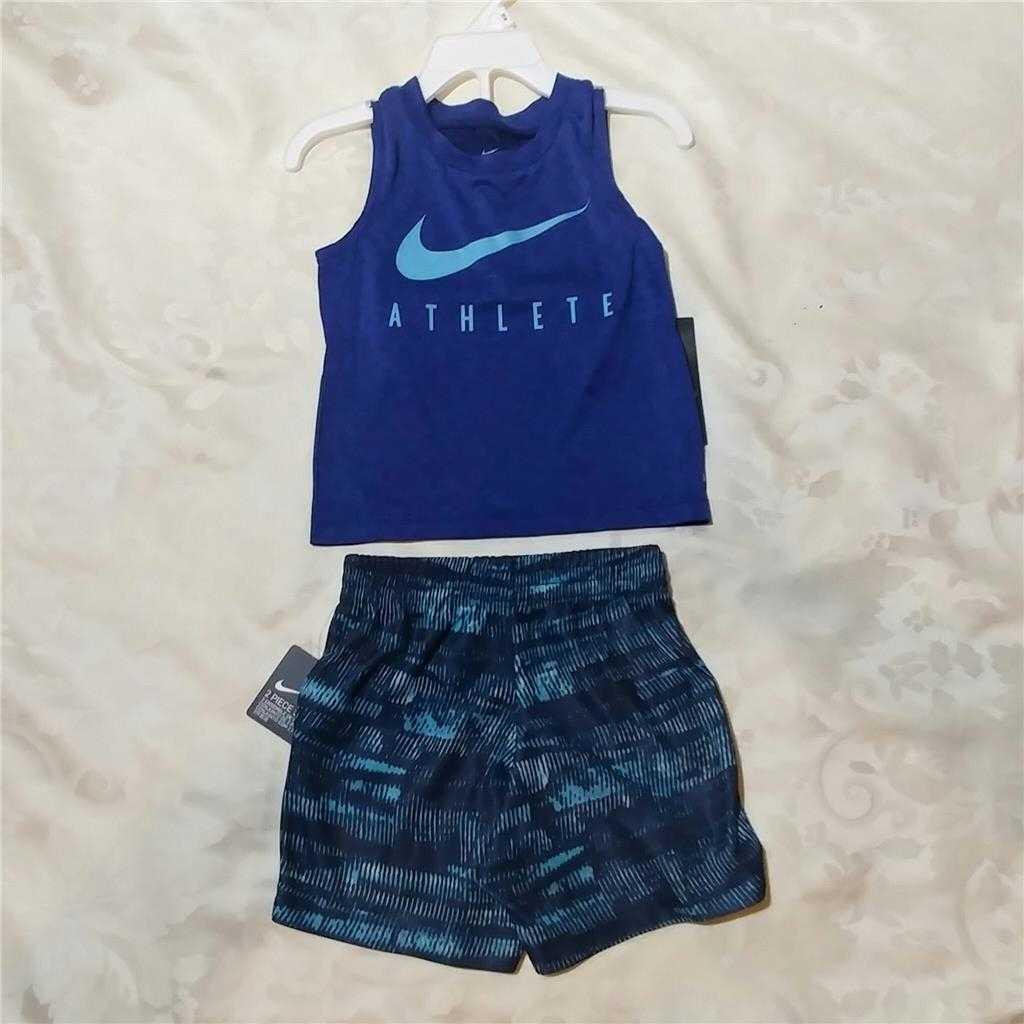 041f80f99160 ... NIKE 2pc SET Boy Toddler Tank Top Sleeveless Shirt & Shorts BLUE 18m ...