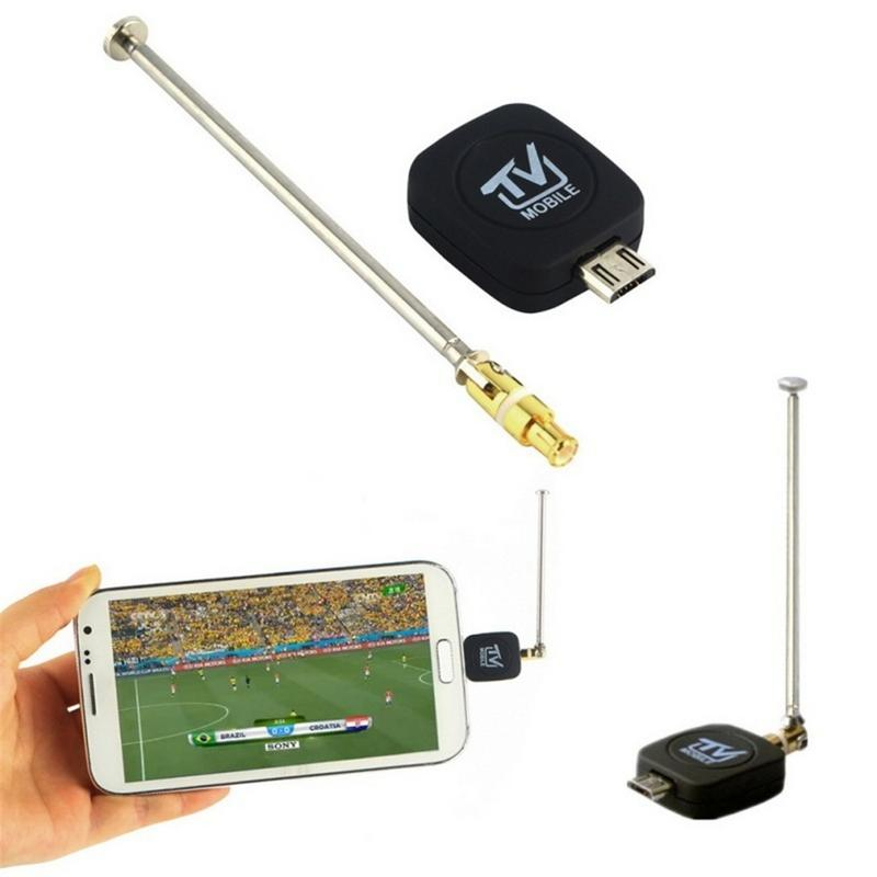 Mini Micro USB DVB-T Digital Mobile HD/SD TV Tuner Receiver For Android 4.1 Or Above Phones Receiving UHF / VHF Antenna