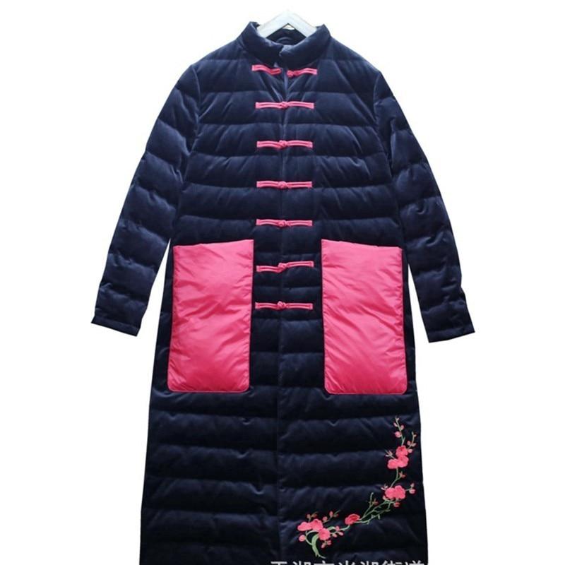 Femmes Vêtements Haut Col Automne black Oc132 Nouvelle Bouton Ourlet Splice Noir pink Hiver ewq Red 2018 Imprimer Lâche Poches Manteau Coton pafq1fw