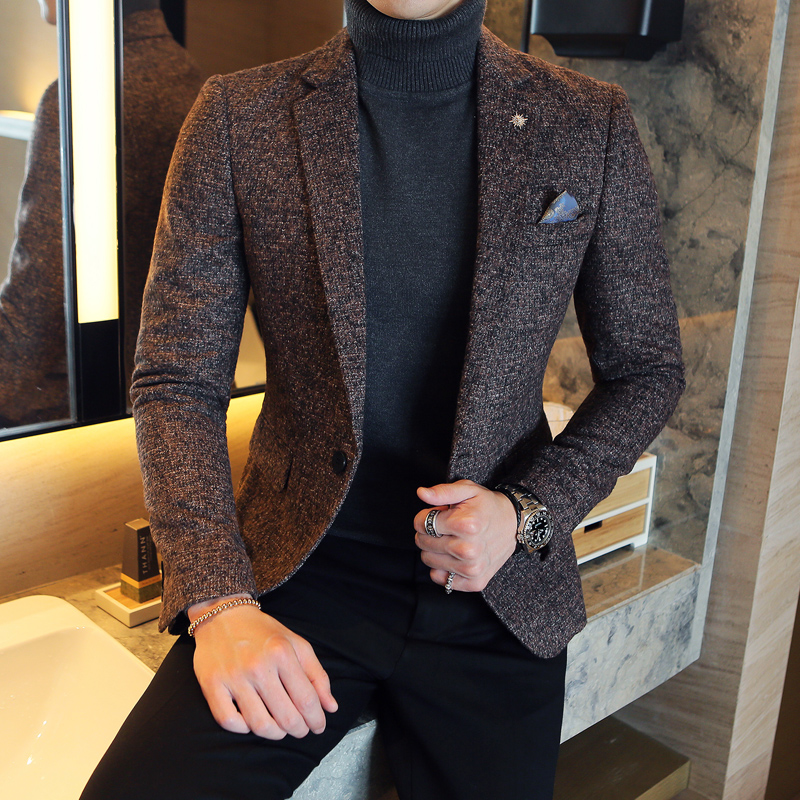 2017 Autumn And Winter New Korean Slim Tide Men Suit British Wind High-end Fabric Casual Men's Suit Jacket