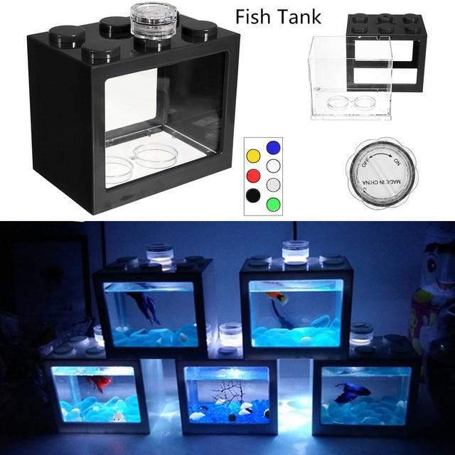 Mini Aquarium Fish Tank LED Light Lamp Betta Box Feed Desk Home Decor Baby Fish Breed Fish Isolation Box 1