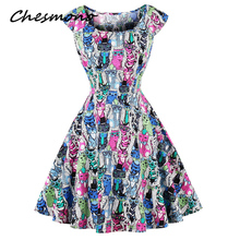 Chic retro 1950s 60s dress whole-body cute cats print pin up rockabilly party dress plus size 4XL vintage Hepburn robe vestidos