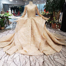 new luxury gold ruffled wedding dress see-through long sleeve flash lace gown court high-end custom