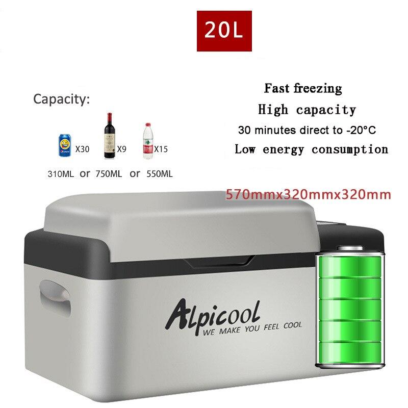 Frigorífico-20 20L Graus 12 V 24 h Vida Útil Da Bateria De Lítio Portátil Compressor Geladeira Carro Mini Multi-Função casa Refrigerador Freezer