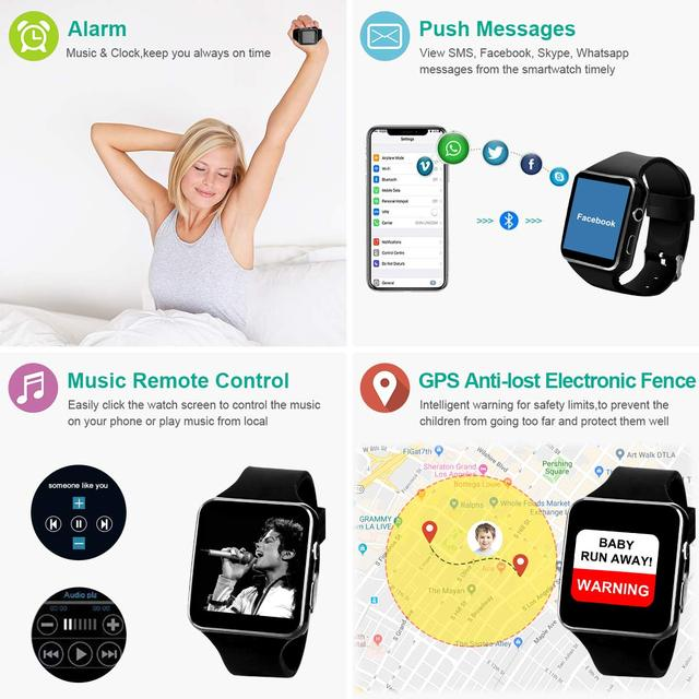 X6 Bluetooth Smart Watch With Camera Support SIM TF Card Touch Screen Alarm Clock Sleep Monitoring Sport Watch For Kid Men Women