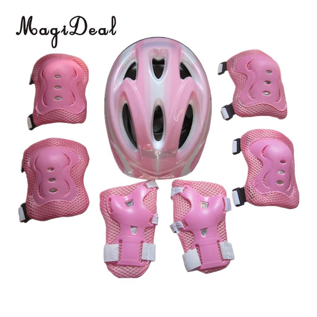 Pink Safety Baby Girls/' Bike Helmet Pads Set Head Adjustable Knee Elbow Pads New