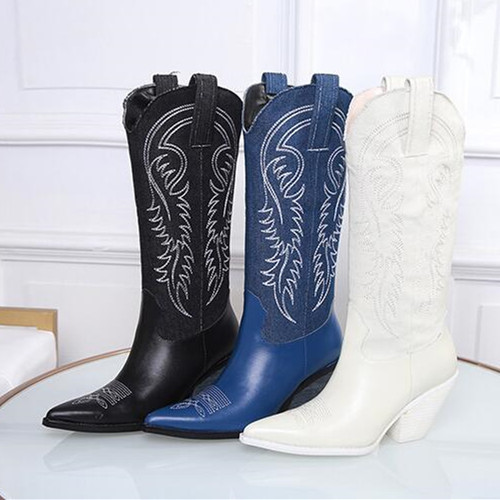 2018 Shoes Woman Leather Pointed Toes Mid Calf Western Boots Embroider Boots Woman Lace up Boots zapatos de mujer