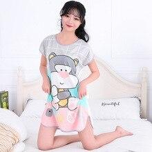 2019 camisón para mujer Pijamas para niñas vestido De dormir De dibujos animados suelto ropa De dormir ropa De noche ropa De casa Pijamas femeninos De Las Mujeres
