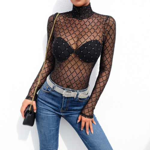 Bodysuits Women New Black Sheer Mesh Lace Jumpsuit Long Sleeve Top Turtleneck Bodysuit