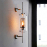 Nordic LED Wall Lights Lighting Clear Glass Shade Scones Wall Lamps Bedroom Bedsides Restaurant Study Hanging Lamp Loft Fixtures